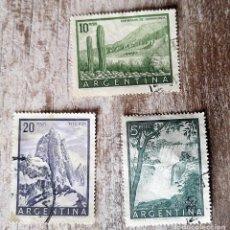 Sellos: ISLANDIA 3 SELLOS USADOS VOLCÁN HEKLA 1947 - GEISER. Lote 291983308