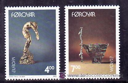 FEROE 240/1 SIN CHARNELA, TEMA EUROPA 1993, ARTE CONTEMPORANEO, ESCULTURA, (Sellos - Extranjero - Europa - Islas Feroe)