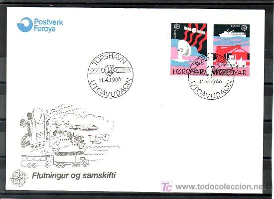 FEROE 160/1 PRIMER DIA, TEMA EUROPA 1988, TRANSPORTES Y COMUNICACIONES, (Sellos - Extranjero - Europa - Islas Feroe)