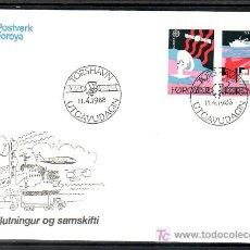 Sellos: FEROE 160/1 PRIMER DIA, TEMA EUROPA 1988, TRANSPORTES Y COMUNICACIONES,. Lote 10829673