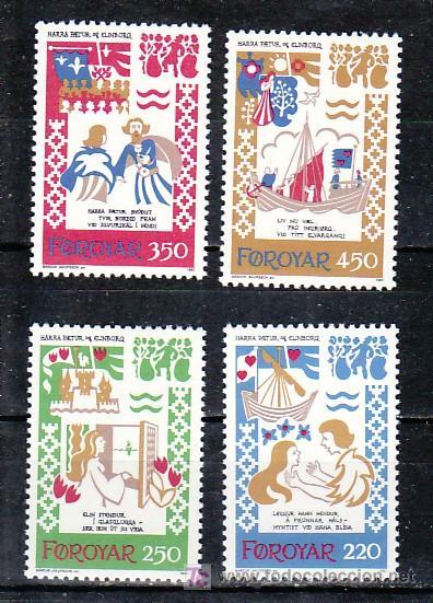 FEROE 69/72 SIN CHARNELA, BARCO, ILUSTRACIONES DE LA BALADA MEDIEVAL HARRA PAETUR ET ELINBORG, (Sellos - Extranjero - Europa - Islas Feroe)