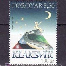 Sellos: FEROE AÑO 2008 (1 VALOR) SIN CHARNELA, FAUNA, BARCO, CENTENARIO KLAKSVIK, . Lote 8536550