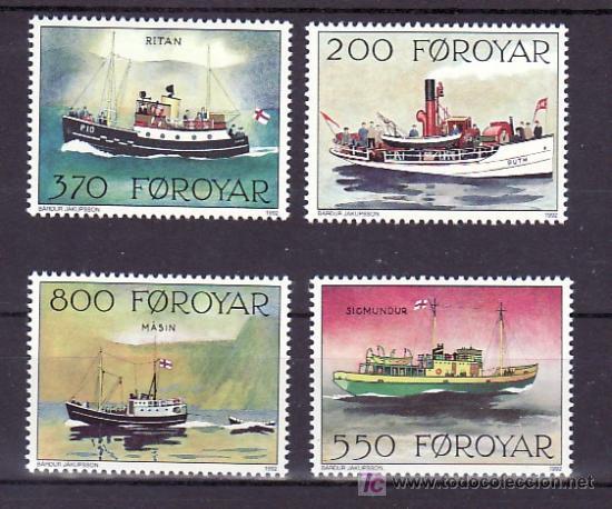 FEROE 221/4 SIN CHARNELA, BARCO POSTALES, (Sellos - Extranjero - Europa - Islas Feroe)