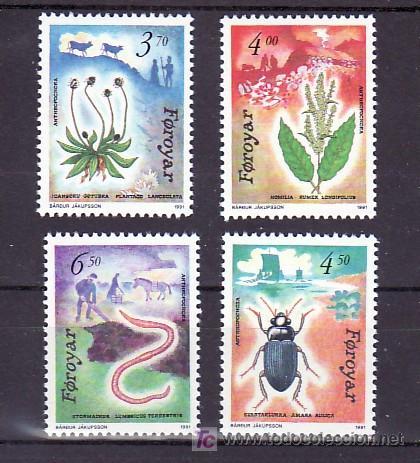 FEROE 205/8 SIN CHARNELA, FAUNA Y FLORES REGIONALES, (Sellos - Extranjero - Europa - Islas Feroe)
