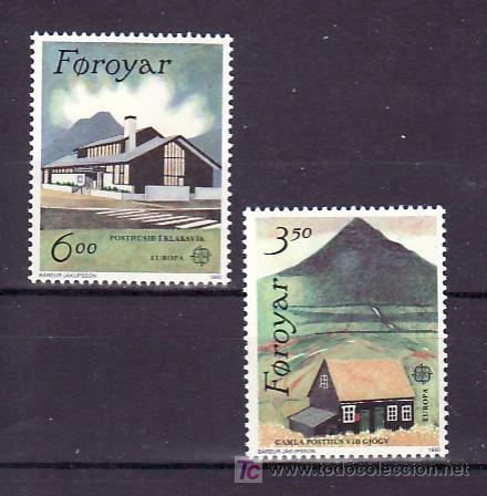 FEROE 192/3 SIN CHARNELA, TEMA EUROPA 1990, EDIFICIOS DE CORREOS, (Sellos - Extranjero - Europa - Islas Feroe)