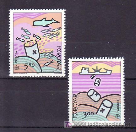 FEROE 128/9 SIN CHARNELA, TEMA EUROPA 1986, PROTECCION DE LA NATURALEZA Y MEDIO AMBIENTE (Sellos - Extranjero - Europa - Islas Feroe)