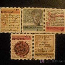 Sellos: FEROE 1981 IVERT 59/63 *** ESCRITOS HISTÓRICOS DE LAS ISLAS FEROE. Lote 16494657