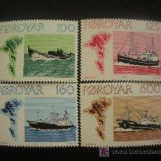 Sellos: FEROE 1977 IVERT 18/21 *** NAVEGACIÓN - BARCOS. Lote 26224247