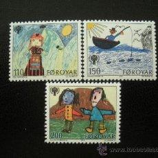 Sellos: FEROE 1979 IVERT 39/41 *** AÑO INTERNACIONAL DEL NIÑO - DIBUJOS INFANTILES. Lote 22213982