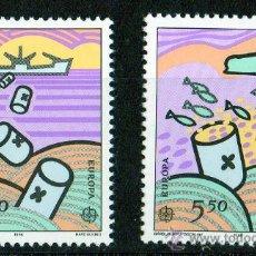 Sellos: FEROE AÑO 1986 YV 128/129*** EUROPA - PROTECCIÓN DE LA NATURALEZA - FAUNA - BARCOS. Lote 28292659