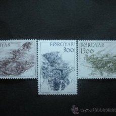 Sellos: FEROE 1986 IVERT 136/8 *** ANTIGUOS PUENTES DE LAS ISLAS FEROE - MONUMENTOS. Lote 36401730
