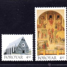 Sellos: FEROE 304/05** - AÑO 1996 - ARQUITECTURA - IGLESIA CRISTIANA DE KLAKSVIK. Lote 49278628
