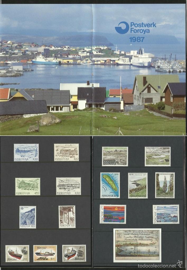 ISLAS FEROE ANUARIO 1987 - INCLUYE LOS SELLOS - CEPT EUROPA- BARCOS- ISLA HESTUR- PAISAJES- PINTURA (Sellos - Extranjero - Europa - Islas Feroe)