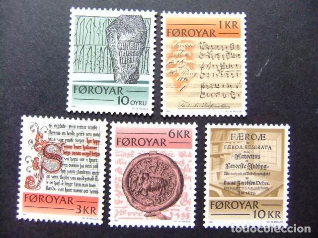 FÉROÉ FOROYAR 1981 ECRITS HISTORIQUES YVERT Nº 59 / 63 ** MNH (Sellos - Extranjero - Europa - Islas Feroe)