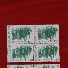 Sellos: ISLAS FEROE 1981 YVERT 57/58*** NUEVOS SIN FIJASELLOS EUROPA FOLKLORE BLOQUE DE CUATRO. Lote 88915572