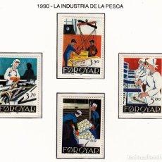 Sellos: FEROE 1990 - INDUSTRIA DE LA PESCA - YVERT Nº 188-191**. Lote 206807520