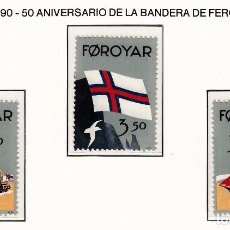 Sellos: FEROE 1990 - 50 ANIVERSARIO DE LA BANDERA DE FEROE - YVERT Nº 194-195**. Lote 206807562
