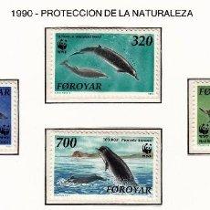 Sellos: FEROE 1990 - FAUNA MARINA - CETACEOS - YVERT Nº 197-200**. Lote 206807615