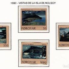 Sellos: FEROE 1990 - VISTAS DE LA ISLA DE NOLSOY - YVERT Nº 201-204**. Lote 206807661