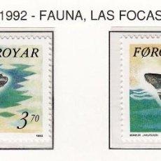 Sellos: FEROE 1992 - FAUNA MARINA - FOCAS - YVERT Nº 231-232**. Lote 90419169