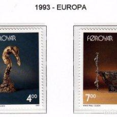 Sellos: FEROE 1993 - EUROPA CEPT - ESCULTURAS - YVERT Nº 240-241**. Lote 90419914