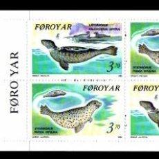 Sellos: FEROE 1992 - FAUNA MARINA - FOCAS - YVERT 231-232 EN CARNET. Lote 101081863