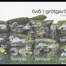 Sellos: FEROE 2007 - FLORA Y FAUNA - YVERT 614-621 - HOJITA BLOQUE. Lote 101087659