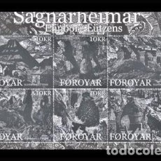 Sellos: FEROE 2008 - SAGNARHEIMAR - MITOLOGIA NORDICA - HOJITA BLOQUE. Lote 101092787