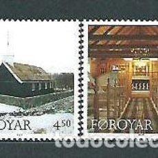 Sellos: FEROE 1997 - NAVIDAD - IGLESIA DE HVALVIK - YVERT Nº 322-323**. Lote 119337779
