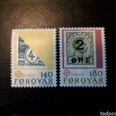Sellos: FEROE (DINAMARCA) YVERT 37/8. SERIE COMPLETA NUEVA SIN CHARNELA. EUROPA CEPT. SELLOS SOBRE SELLOS. Lote 124346858
