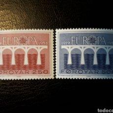 Sellos: FEROE (DINAMARCA) YVERT 91/2. SERIE COMPLETA NUEVA SIN CHARNELA. EUROPA CEPT. PUENTES. Lote 124346938