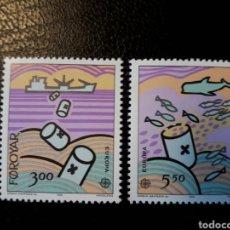 Sellos: FEROE (DINAMARCA) YVERT 128/9. SERIE COMPLETA NUEVA SIN CHARNELA. EUROPA CEPT.. Lote 124346976