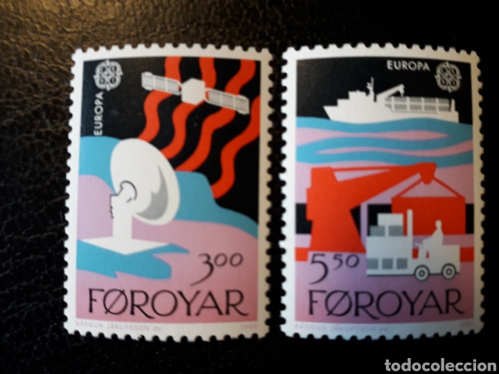 FEROE (DINAMARCA) YVERT 160/1. SERIE COMPLETA NUEVA SIN CHARNELA. EUROPA CEPT. COMUNICACIONES (Sellos - Extranjero - Europa - Islas Feroe)
