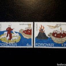 Sellos: FEROE (DINAMARCA) YVERT 254/5. SERIE COMPLETA NUEVA SIN CHARNELA. EUROPA CEPT.. Lote 124473048