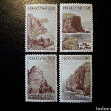 Sellos: FEROE (DINAMARCA) YVERT 184/7. SERIE COMPLETA NUEVA SIN CHARNELA. ACANTILADOS REFUGIOS DE AVES. Lote 124473395