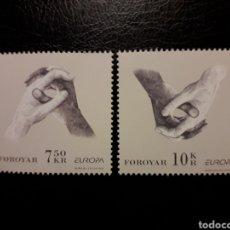 Sellos: FEROE (DINAMARCA) YVERT 568/9. SERIE COMPLETA NUEVA SIN CHARNELA. EUROPA. MANOS. Lote 125017095