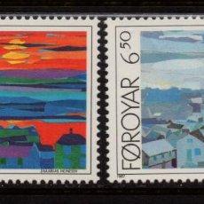 Sellos: FEROE 154/55** - AÑO 1987 - PINTURA - OBRAS DE ZAKARIAS HEINESEN. Lote 147488194
