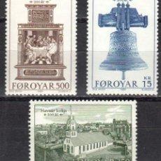Sellos: ISLAS FEROE - 1 SERIE IVERT 173-75 (3 VALORES) - BICENTENARIO IGLESIA TORSHAVN 1989 - GOMA ORIGINAL. Lote 151563250