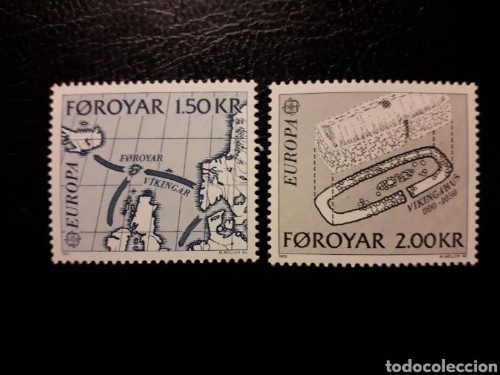 FEROE (DINAMARCA) YVERT 64/5 SERIE COMPLETA NUEVA SIN CHARNELA. EUROPA CEPT. MAPAS. VIKINGOS. (Sellos - Extranjero - Europa - Islas Feroe)
