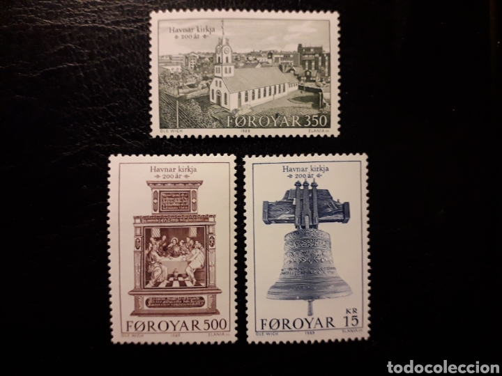 FEROE (DINAMARCA) YVERT 173/5 SERIE COMPLETA NUEVA SIN CHARNELA. IGLESIA DE TORSHAVN. CAMPANA (Sellos - Extranjero - Europa - Islas Feroe)
