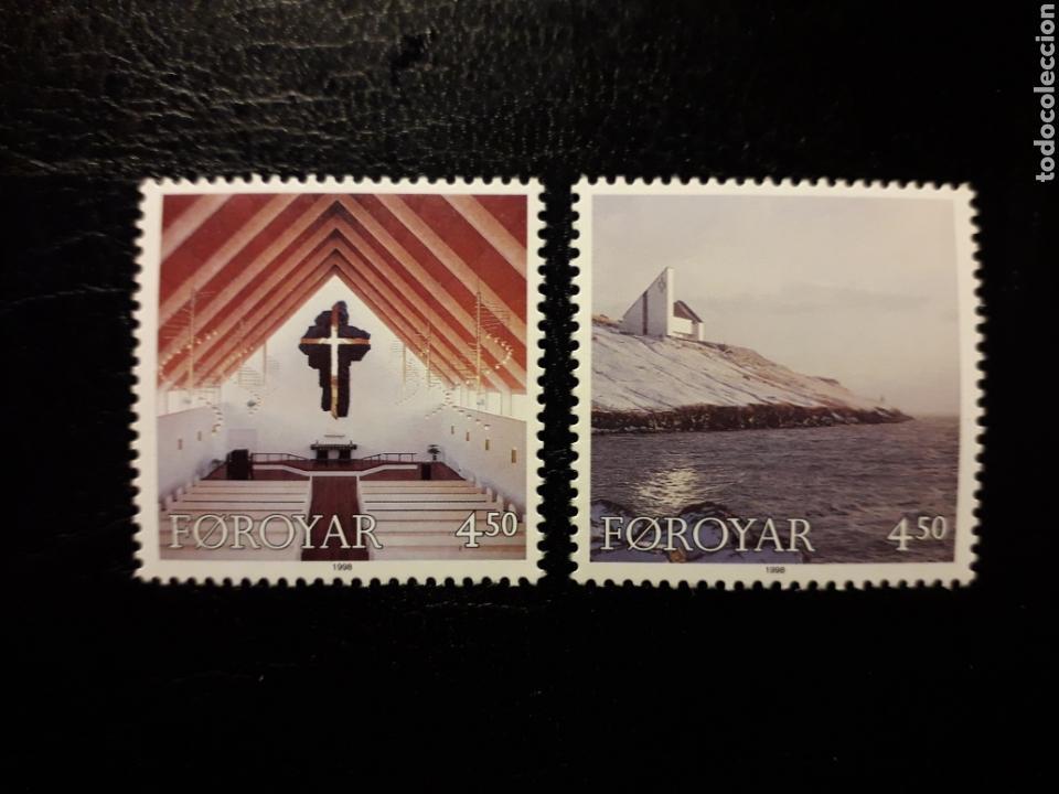 FEROE (DINAMARCA) YVERT 342/3 SERIE COMPLETA NUEVA SIN CHARNELA. IGLESIA DE FREDERIK. (Sellos - Extranjero - Europa - Islas Feroe)