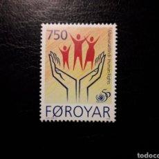 Sellos: FEROE (DINAMARCA) YVERT 336 SERIE COMPLETA NUEVA SIN CHARNELA. DECLARACIÓN DE LOS DERECHOS HUMANOS. Lote 156000552