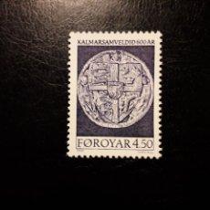 Sellos: FEROE (DINAMARCA) YVERT 315 SERIE COMPLETA NUEVA SIN CHARNELA. UNIÓN DE KALMAR. ESCUDOS. Lote 156000753