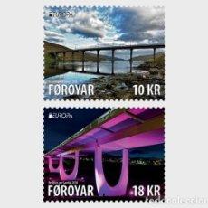 Sellos: FAROE ISLANDS 2018 - EUROPA C.E.P.T. BRIDGES STAMP SET MNH. Lote 168380885