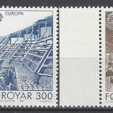 Sellos: ISLAS FEROE 1987 - EUROPA, ARQUITECTURA MODERNA, S.COMPLETA - SELLOS NUEVOS EN BORDE DE HOJA. Lote 182120100