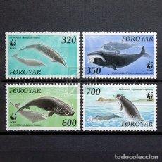 Sellos: ISLAS FEROE 1990 ~ WWF FONDO MUNDIAL PARA LA NATURALEZA: BALLENAS ~ SERIE NUEVA MNH LUJO. Lote 183493922