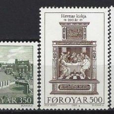 Sellos: ISLAS FEROE 1989 - 2º CENTENARIO DE LA IGLESIA DE TÓRSHAVN, S.COMPLETA - SELLOS NUEVOS **. Lote 210433617