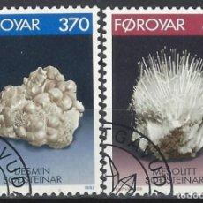 Sellos: ISLAS FEROE 1992 - MINERALES, ESTILBITA Y MESOLITA, S.COMPLETA - SELLOS USADOS. Lote 210435913