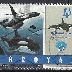 Sellos: ISLAS FEROE 1998 - FAUNA MARINA, ORCAS - SELLO USADO. Lote 210436238
