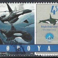 Sellos: ISLAS FEROE 1998 - FAUNA MARINA, ORCAS - SELLO USADO. Lote 210436275